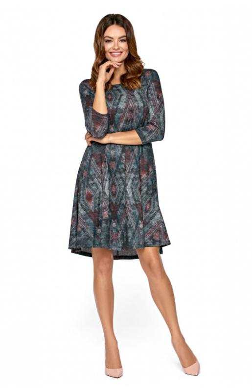 Multicolor Long Sleeve Casual Dress